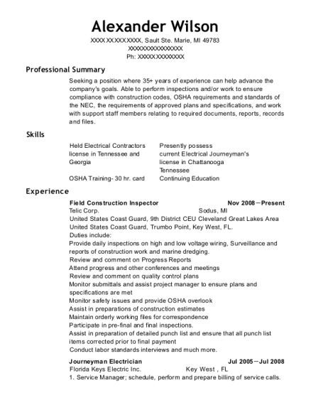Field Construction Inspector resume template Michigan