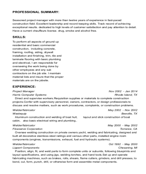 Project Manager resume format Michigan