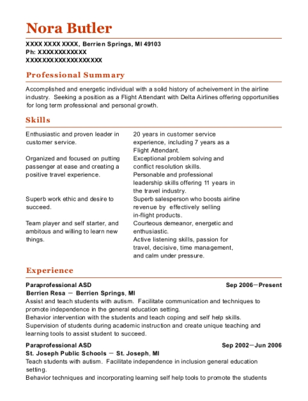 Paraprofessional ASD resume format Michigan