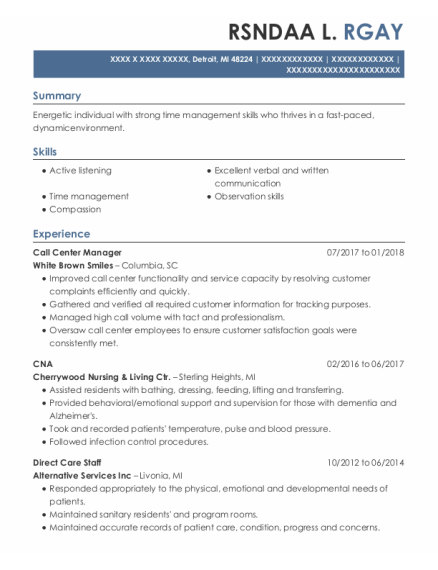 Call Center Manager resume format Michigan