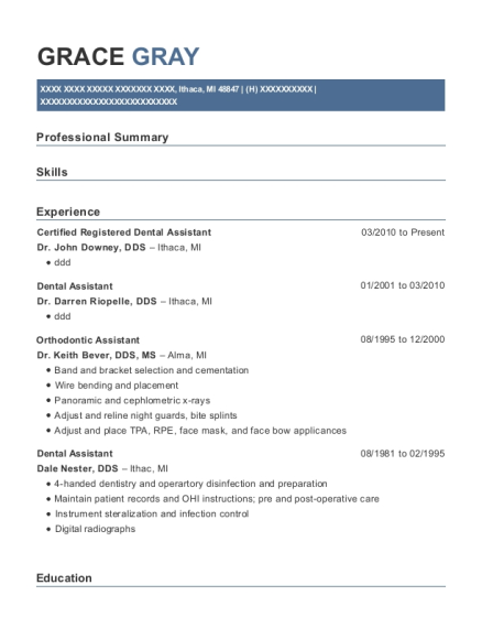 Certified Registered Dental Assistant resume example Michigan