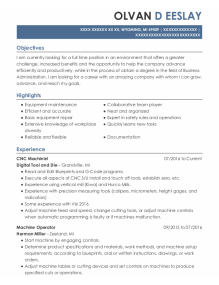 Machine Operator resume format Michigan