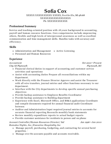 Accountant resume sample Michigan