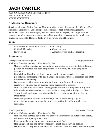 Dining Services Manager I resume format Michigan