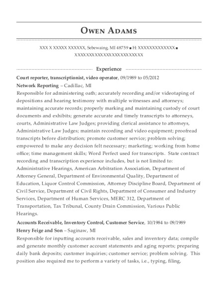 Court reporter resume template Michigan