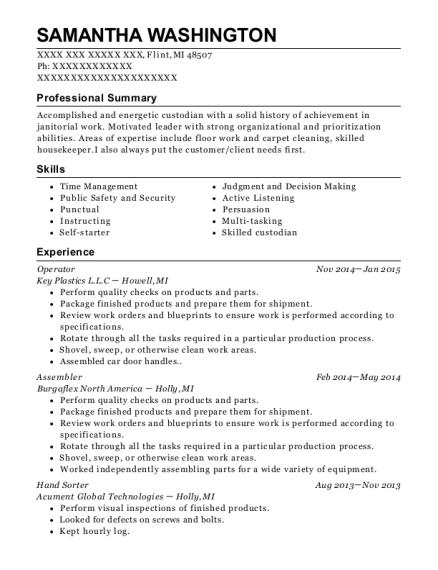 Operator resume sample Michigan