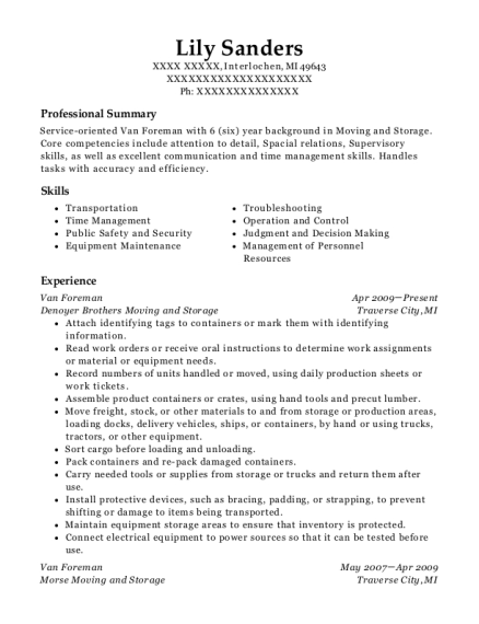 Van Foreman resume example Michigan