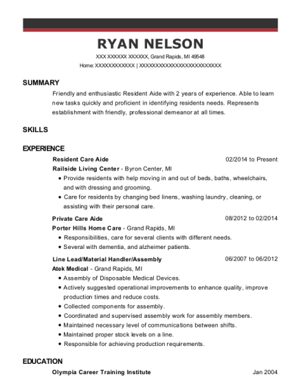 Resident Care Aide resume template Michigan