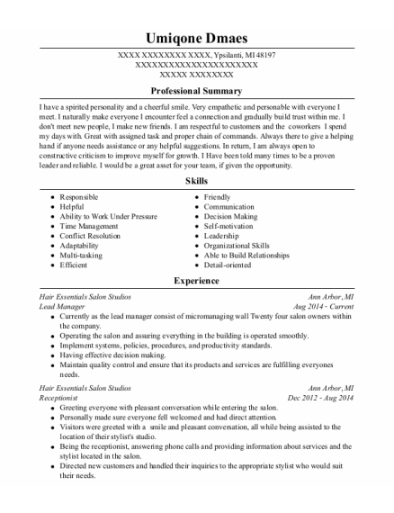 Lead Manager resume format Michigan