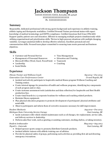Fitness Trainer and Wellness Coach resume example Michigan