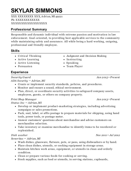 Security Guard resume template Michigan