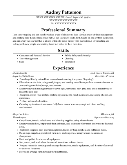 Sugarist resume format Michigan