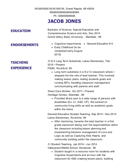 CI K 2 Long Term Substitute resume example Michigan