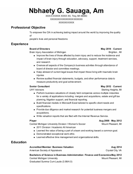 Board of Directors resume template Michigan