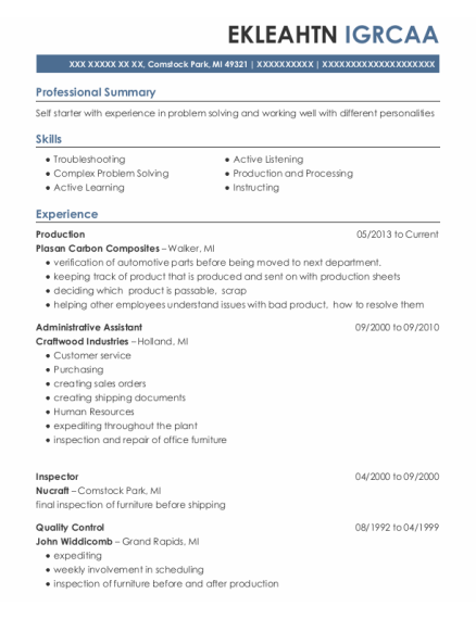 Production resume template Michigan