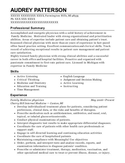 Family Medicine physician resume example Michigan