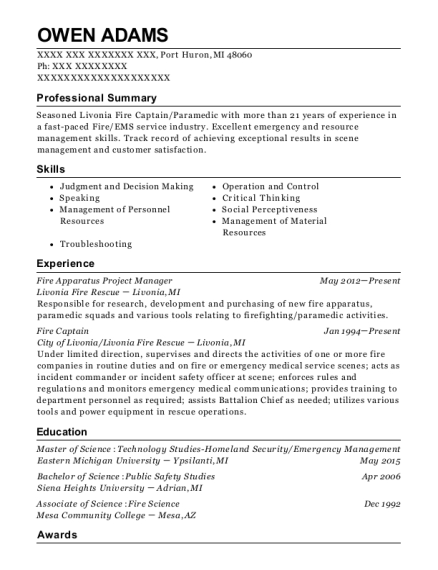 Fire Apparatus Project Manager resume example Michigan