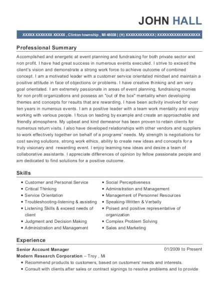 Senior Account Manager resume example Michigan