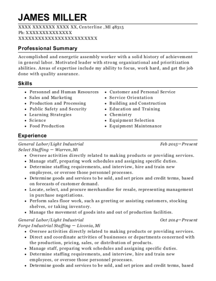 General Labor resume sample Michigan