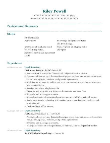 Legal Secretary resume example Michigan