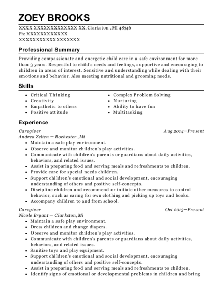 Caregiver resume format Michigan