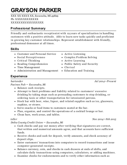 Bartender resume template Michigan