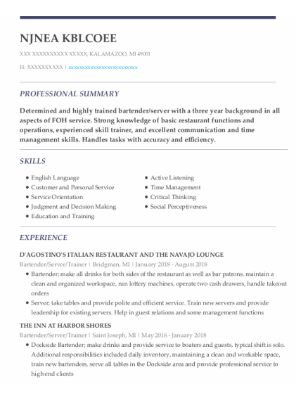 Bartender resume format Michigan
