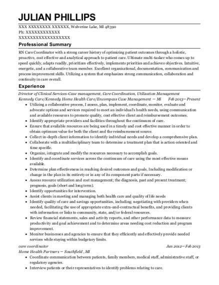 Director of Clinical Services Case management resume format Michigan