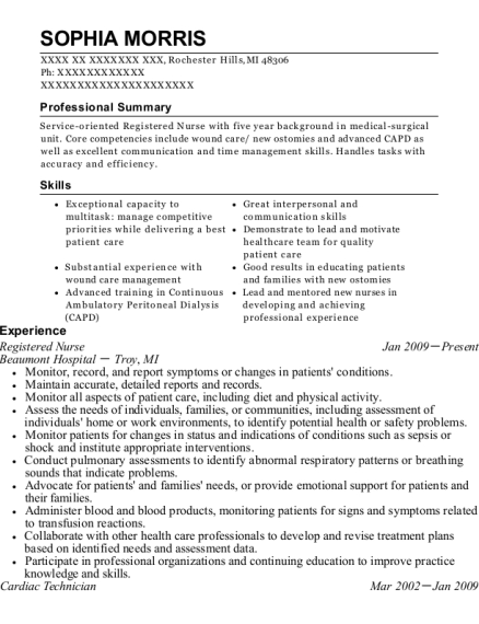 Registered Nurse resume template Michigan