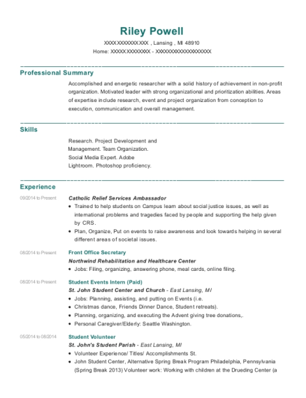 Front Office Secretary resume example Michigan