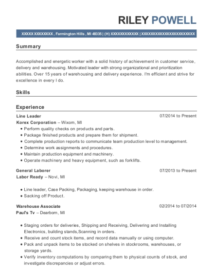 Line Leader resume format Michigan