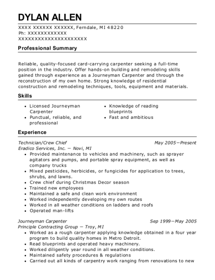 Technician resume sample Michigan