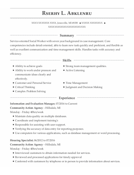 Intake Specialist resume sample Michigan