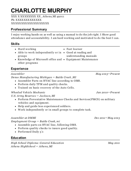 Assembler resume example Michigan
