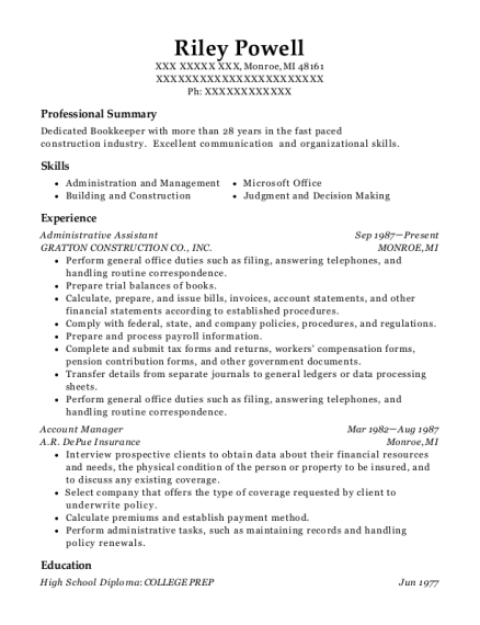 Administrative Assistant resume template Michigan