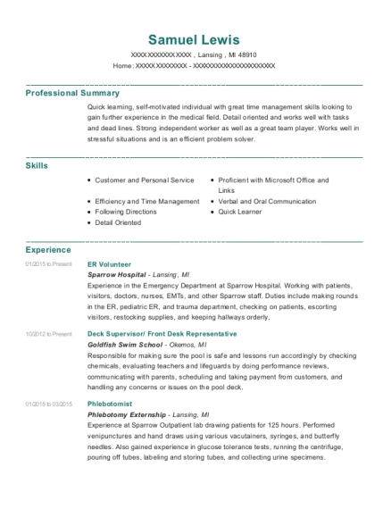 ER Volunteer resume template Michigan