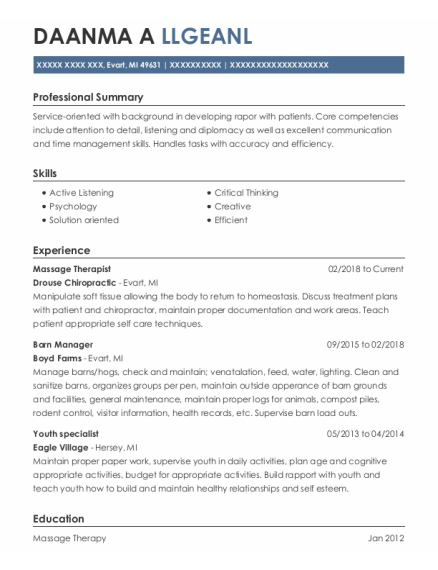Massage Therapist resume format Michigan