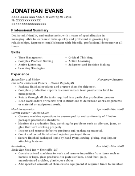 Assembler and Picker resume sample Michigan