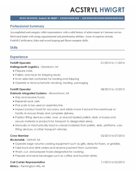 Forklift Operator resume template Michigan