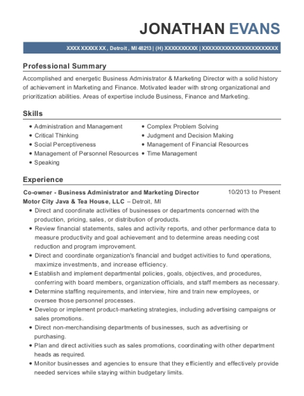 Co owner Business Administrator and Marketing Director resume template Michigan