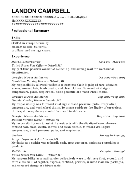 Mail Collector resume sample Michigan