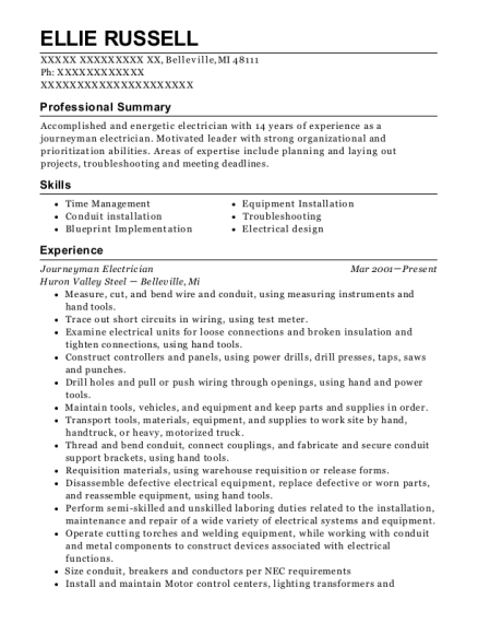 Journeyman Electrician resume sample Michigan