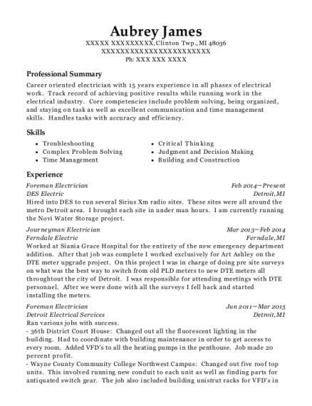 Foreman Electrician resume sample Michigan
