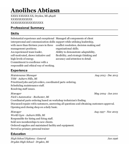 Maintenance Manager resume template Michigan