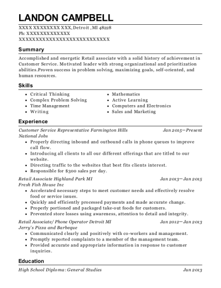 Customer Service Representative Farmington Hills resume sample Michigan