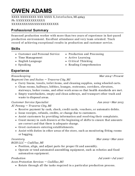 Housekeeping resume sample Michigan