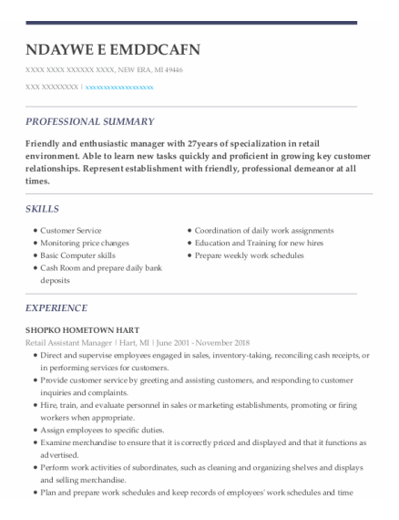 Retail Assistant Manager resume example Michigan