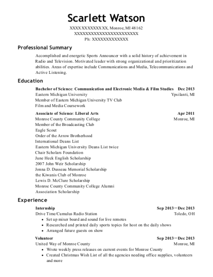 Internship resume sample Michigan