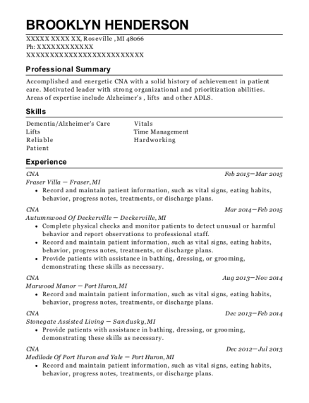 CNA resume format Michigan