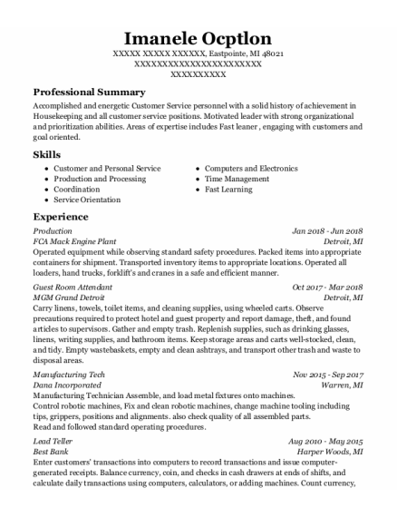 Production resume format Michigan